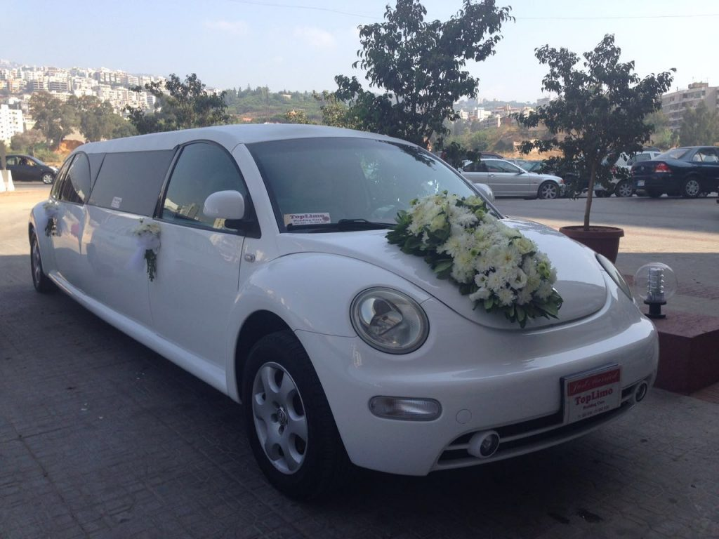 White beetle limousine decorated from the front