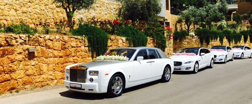 wedding cars convoy in a traditional Lebanese village