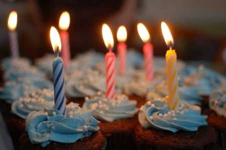 Candles lit inside the limousine to celebrate birthday
