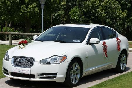 White Jaguar XF with wedding decoration in red