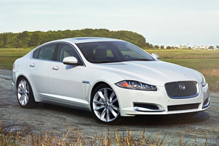 White Jaguar XJL from the front side