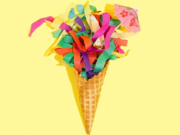 Colerful confetti cone